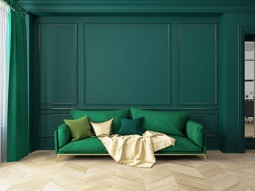Classic green interior with sofa. 3D render interior mock up.